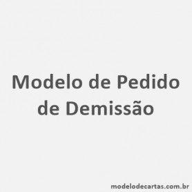 Modelo de Pedido de Demissão
